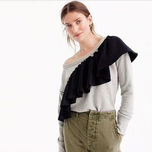 J. Crew Asymmetrical Ruffle Sleeve Sweatshirt